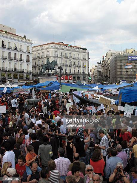 Concentration of people to support the camp of the indignants on Puerta del Sol on March 15 2011 the movement of people known as indignants or...