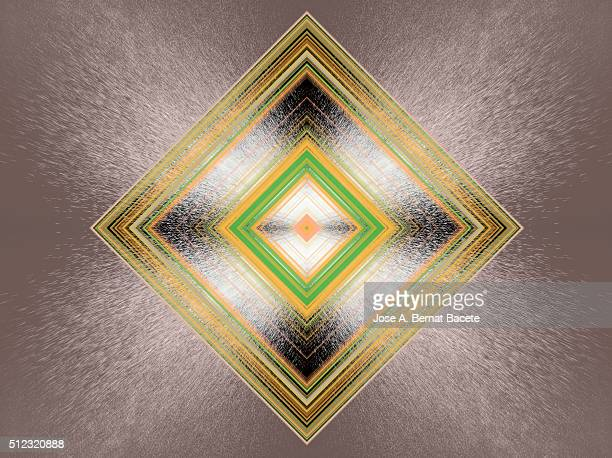 Concentric colored diamonds on a brown background with water drops