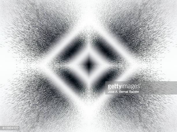 Concentric geometric forms of gray on a white background with water droplets