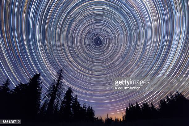 a concentric star trail rotating around the star polaris, british columbia, canada - spinning stock pictures, royalty-free photos & images