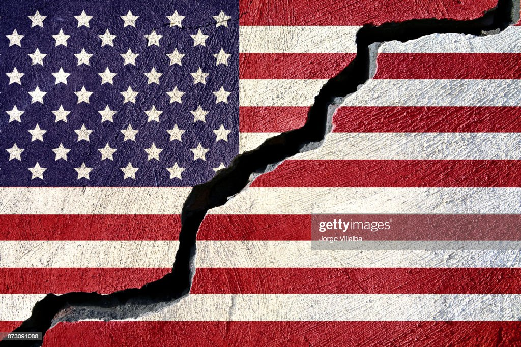 Concept american flag on cracked background : Stock Photo