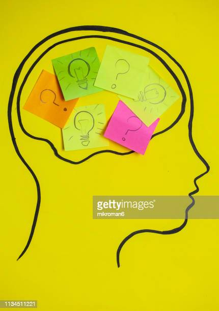 concept art of thoughts inside someones head. coming up with ideas. - communication problems stock pictures, royalty-free photos & images