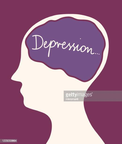 concept art of thoughts inside someones head. depression - human interest stock pictures, royalty-free photos & images
