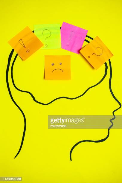 concept art of thoughts inside someones head. - reminder stock pictures, royalty-free photos & images