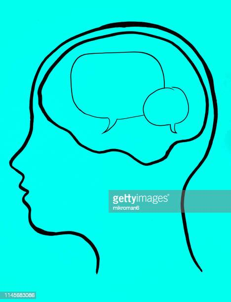 concept art of thoughts inside someones head. speech bubbles - inside out stock pictures, royalty-free photos & images