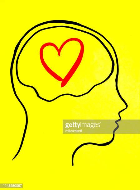 concept art of thoughts inside someones head. thinking about love - love stock pictures, royalty-free photos & images