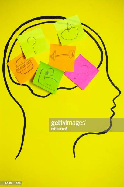 concept art of thoughts inside someones head, trying to decide of what is good. - mental wellbeing stock pictures, royalty-free photos & images