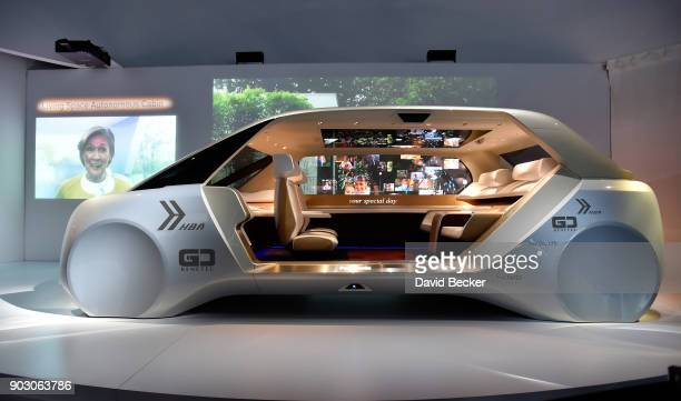 A concept autonomous vehicle is displayed at the Panasonic both during CES 2018 at the Las Vegas Convention Center on January 9 2018 in Las Vegas...