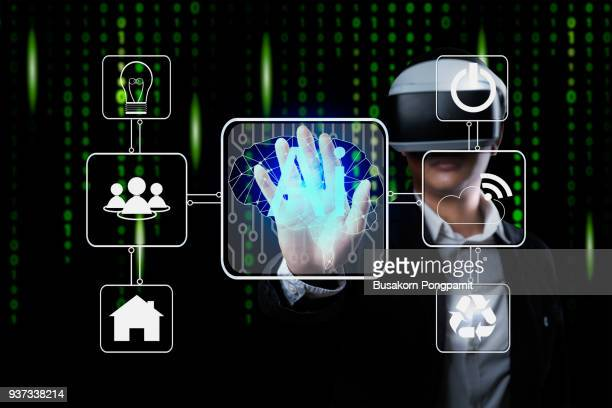 AI(Artificial Intelligence) concept, Business man working with virtual display