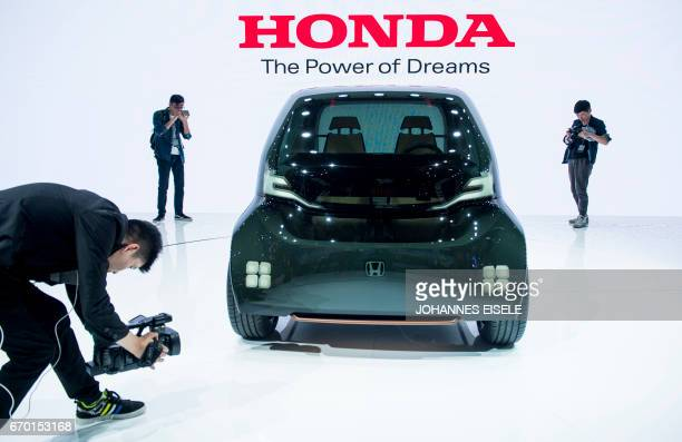 A concept car by Japanese car maker Honda is displayed during the first day of the 17th Shanghai International Automobile Industry Exhibition in...