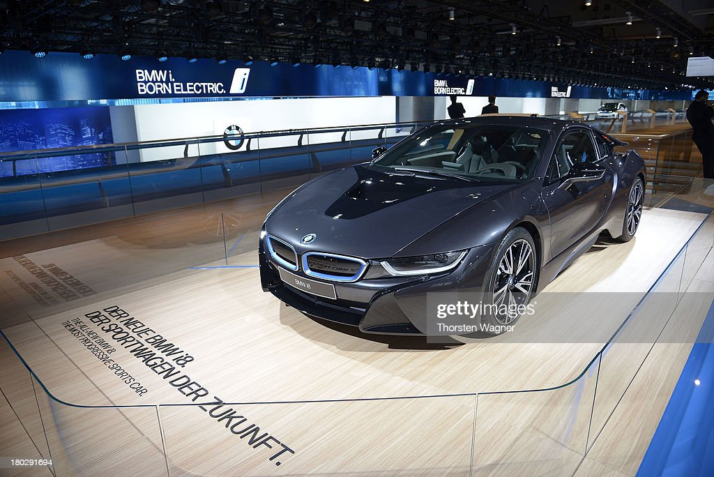 BMW concept car i8 is during the press day at the international motor show IAA (Internationale Automobil-Ausstellung) on September 11, 2013 in Frankfurt am Main, Germany. The world's biggest motor show, the IAA, is running from September 12 to 22, 2013
