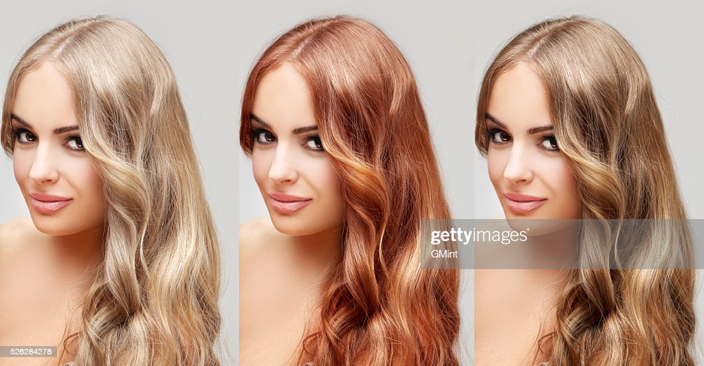 Concept Coloring Hair.Curly hair : Stock Photo