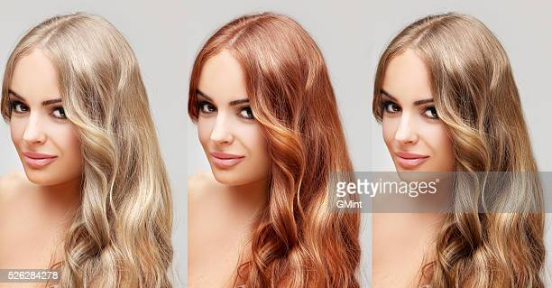 concept coloring hair.curly hair - colouring stock photos and pictures