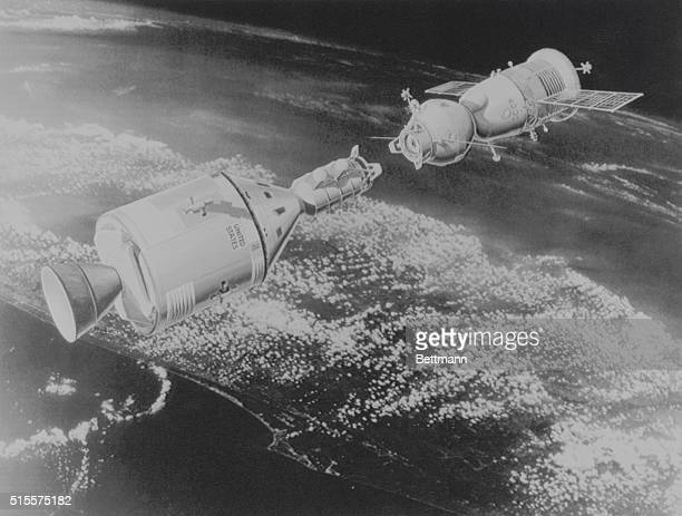 A NASA 1972 concept drawing depicts the proposed docking of Apollo and Soyuz space capsules The spaceship docking took place in 1975