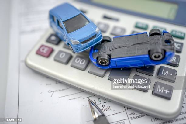 concept for car insurance and financial. - tax stock pictures, royalty-free photos & images