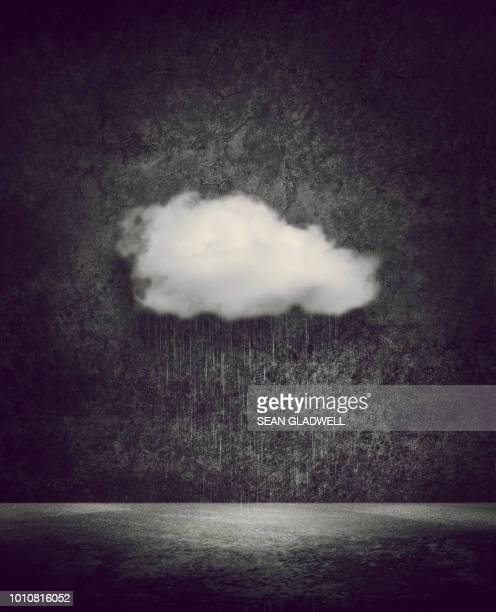 concept image of cloud raining - sturmbewölkung stock-fotos und bilder