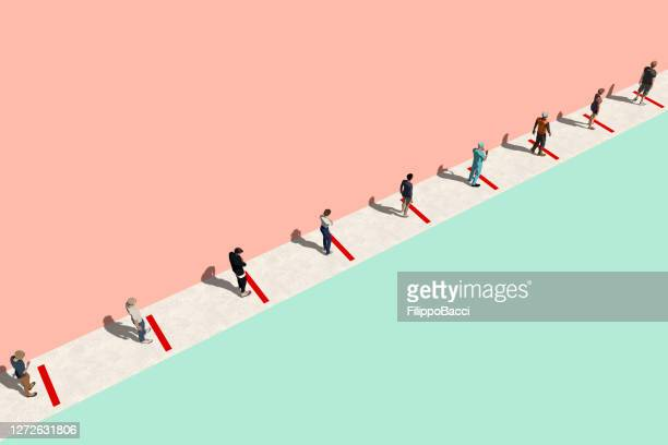 concept image of people waiting in line during coronavirus covid-19 pandemic - pathogen transmission stock pictures, royalty-free photos & images