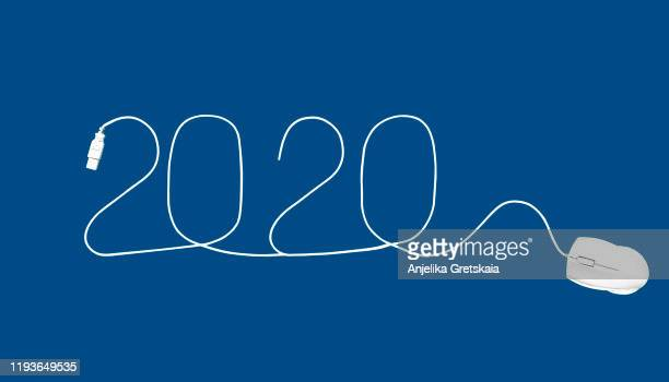 concept image of symbol new year 2020. mouse banner concept. white computer mouse cable forming a 2020. - 2020 calendar stock photos and pictures