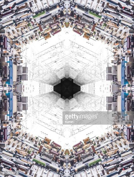 ai concept, microchip motherboard glitch pattern, bitcoin mining - divergent film stock photos and pictures