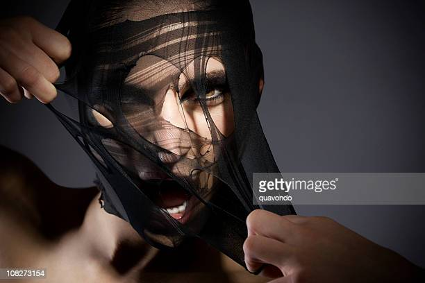 Beautiful Young Woman Fashion Model Ripping Veil, Copy Space