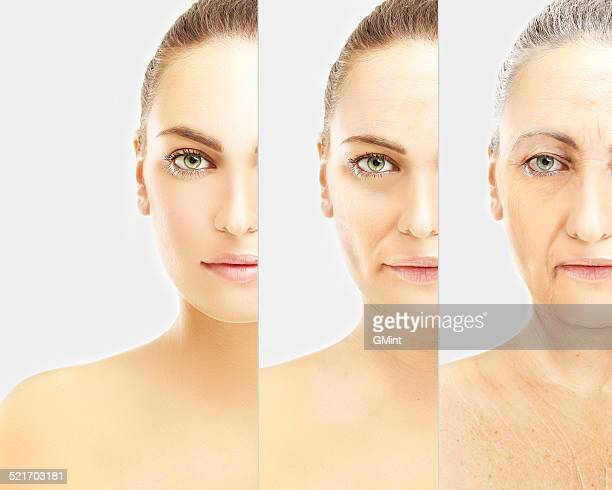 Concept of aging . Young girl and woman with wrinkles