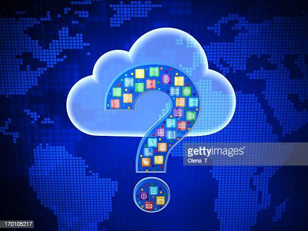 Concept of choosing cloud computing application. Questing mark.