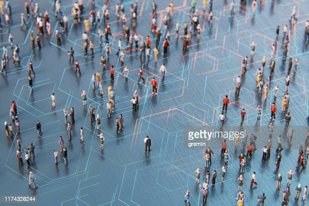 concept of crowds of people and communication - global communications stock pictures, royalty-free photos & images