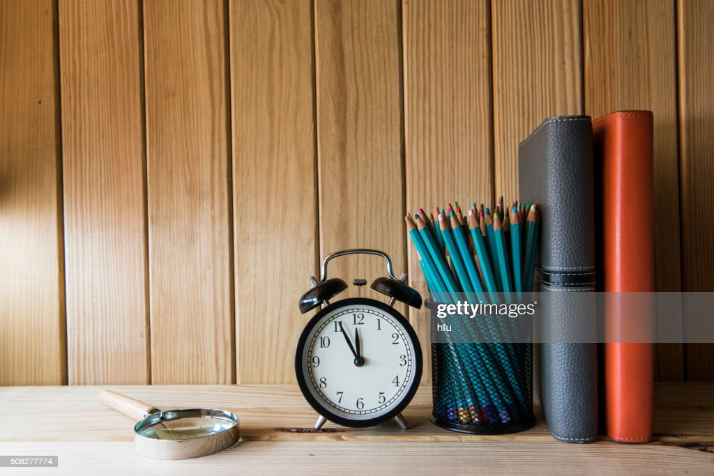 Concept of education or back to school on wooden background : Stock Photo