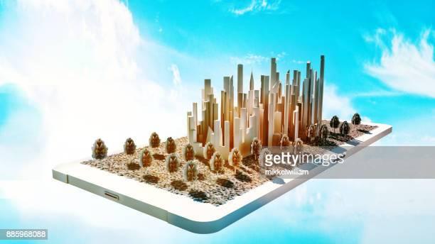 携帯電話で小規模で将来スマートシティの概念
