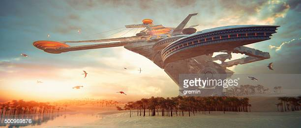 concept of futuristic living in the desert - spaceship stock photos and pictures