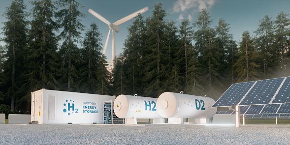 재생 가능한 소스에서 수소 에너지 저장의 개념-풍력 터빈 및 태양 광 발전.  3d 렌더링