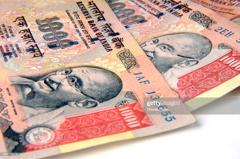 Concept of indian currency one thousand rupee notes, India, Asia : Stock Photo