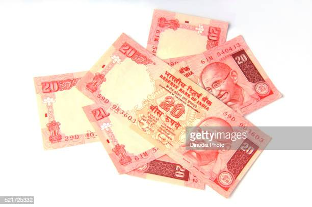 Concept of Indian Currency twenty rupee note, India, Asia