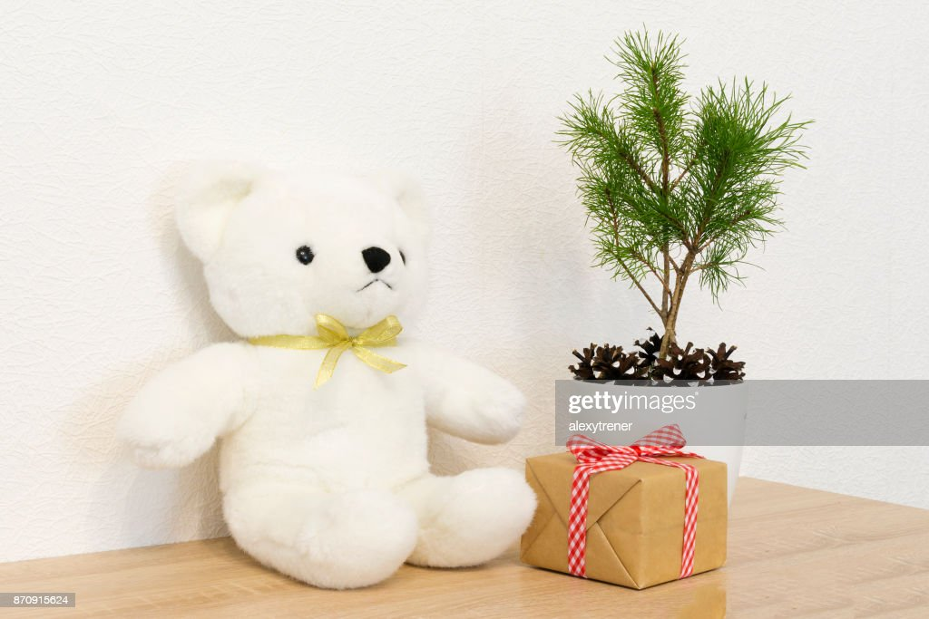 Concept Of Interior Decor White Bear Toy For Baby Gift Box Fir Tree