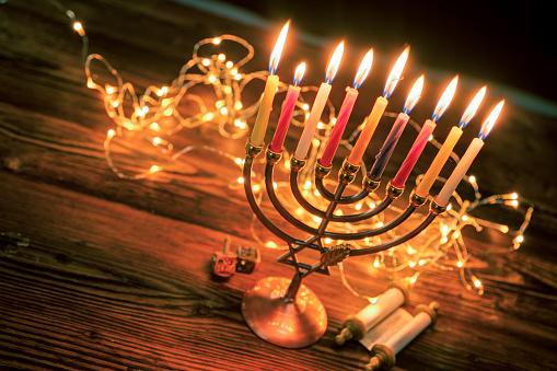 Concept of jewish holiday Hanukkah with menorah (traditional candelabra) 1151868838