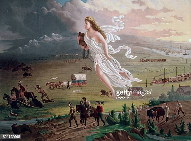 Concept of Manifest Destiny Allegorical female figure carrying electric¾telegraph wire leads American pioneers and railroads westwards Native...