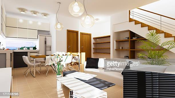 Concept of Modern Home Interior. 3D Rendering.