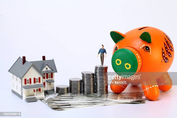 concept of wealth creation-piggy bank and miniature house - cotação de juros - fotografias e filmes do acervo