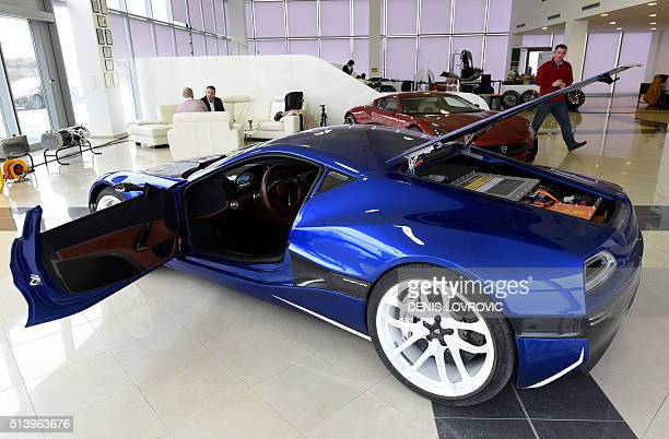 Concept One car model the world's first electric supercar is displayed at Mate Rimac's factory and showroom in Sveta Nedelja on the outskirts of...