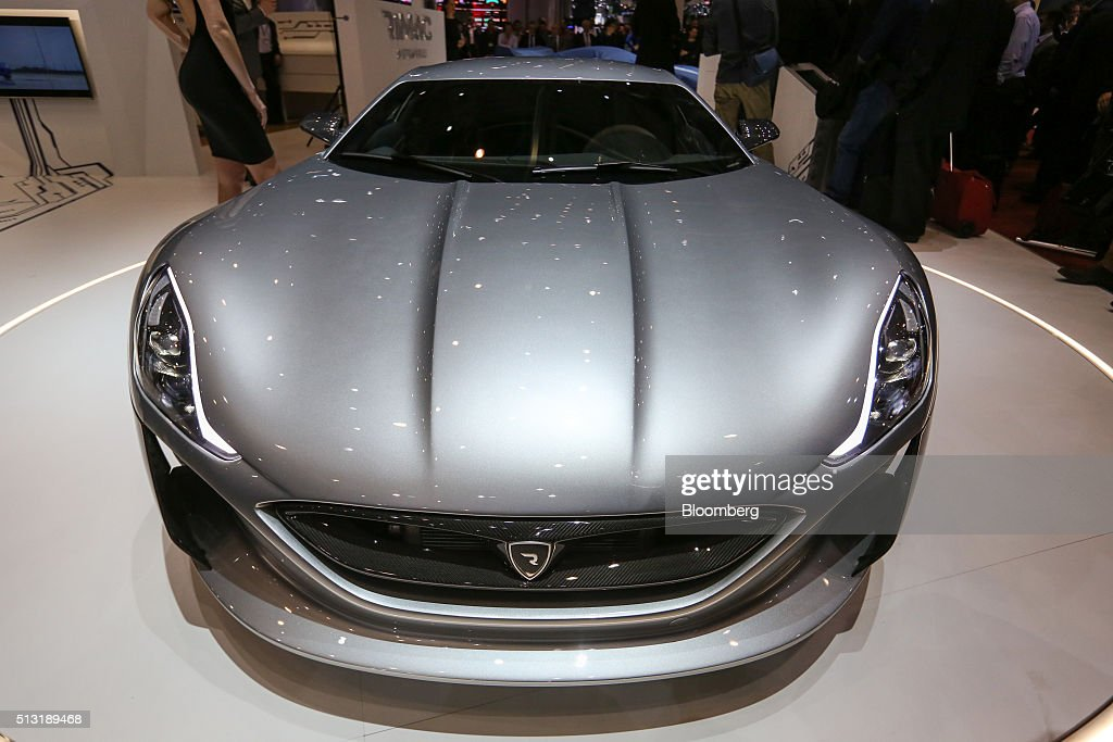 A Concept One electric automobile, produced by Rimac Automobili, sits on display on the first day of the 86th Geneva International Motor Show in Geneva, Switzerland, on Tuesday, March 1, 2016. The show opens to the public on March 3, and will showcase the latest models from the world's top automakers. Photographer: Chris Ratcliffe/Bloomberg via Getty Images