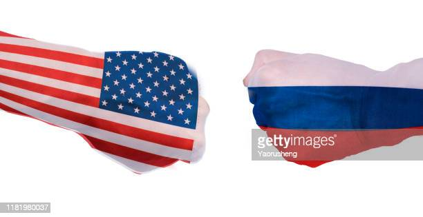 concept photo:conflict between usa and russia - russia stock pictures, royalty-free photos & images