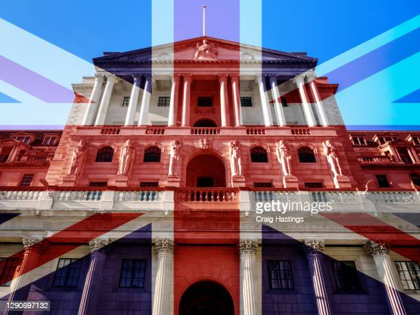 concept piece containing a city of london bank of england scene with the union jack overlaid as both the uk and eu try to negotiate a trade deal before brexit on the 1st january 2021 - tariff stock pictures, royalty-free photos & images