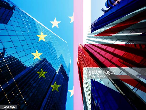 concept piece containing a city of london skyscraper scene with the union jack and eu flag overlaid as both the uk and eu try to negotiate a trade deal before brexit on the 1st january 2021 - agreement stock pictures, royalty-free photos & images