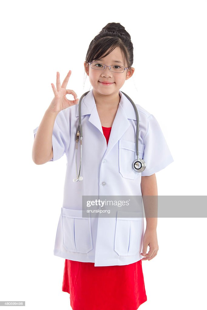 Concept Portrait of future doctor showing ok sign : Stock Photo