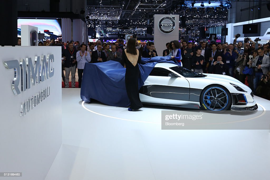 A Concept S electric automobile, produced by Rimac Automobili, is unveiled on the first day of the 86th Geneva International Motor Show in Geneva, Switzerland, on Tuesday, March 1, 2016. The show opens to the public on March 3, and will showcase the latest models from the world's top automakers. Photographer: Chris Ratcliffe/Bloomberg via Getty Images