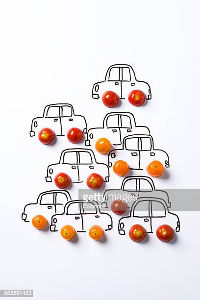Concept sketch of cars with cherry tomato
