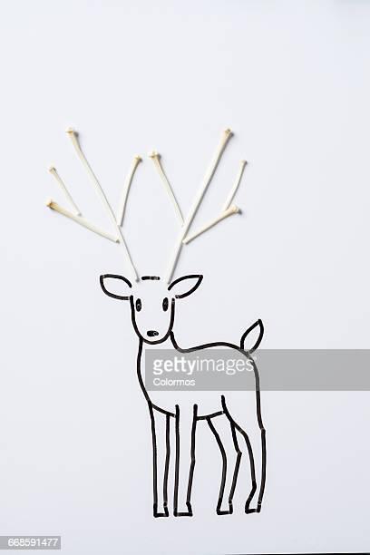 Concept sketch of deer with mushroom