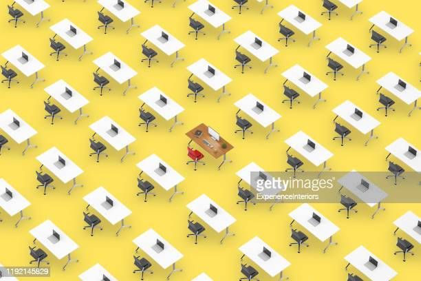 concept top view of an office space with table standing out - repetition stock pictures, royalty-free photos & images