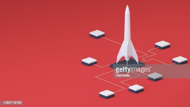 conceitos e ideias. conceito isométrico rocket 3d - festa de lançamento - fotografias e filmes do acervo