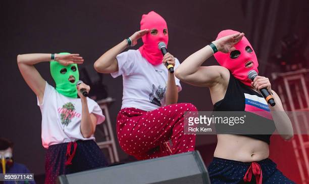 Conceptual artist Nadezhda Tolokonnikova of Pussy Riot performs onstage during Day for Night festival on December 16 2017 in Houston Texas